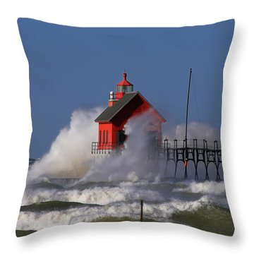 Waves Over The Grand Haven Outer Light Throw Pillow