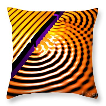 Waves Two Slit 2 Throw Pillow by Russell Kightley