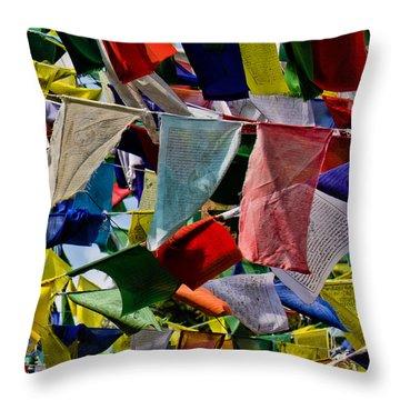 Throw Pillow featuring the photograph Waving Prayer Flags by Don Schwartz