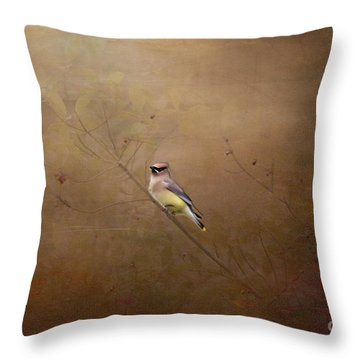 Waxwing Spring Visit Throw Pillow by Cris Hayes