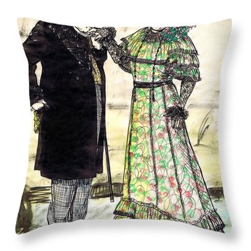 W.c.fields And Jan Throw Pillow by Mel Thompson