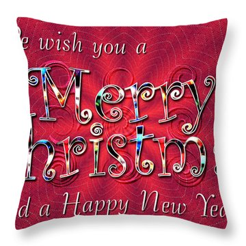 We Wish You A Merry Christmas Throw Pillow by Susan Kinney