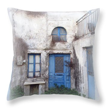 Weathered Greek Building Throw Pillow by Carla Parris