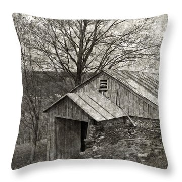 Weathered Hillside Barn Throw Pillow by John Stephens