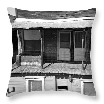 Weathered Home With Satellite Dish Throw Pillow
