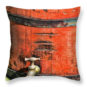 Weathered Red Oil Bucket Throw Pillow by Paul Ward