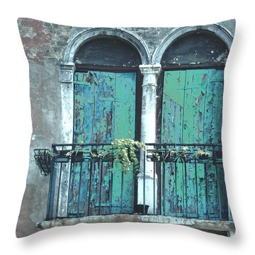 Weathered Venice Porch Throw Pillow