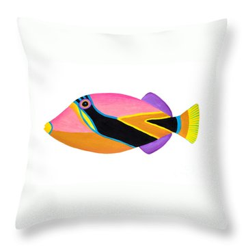 Wedge Tail Triggerfish  Throw Pillow by Opas Chotiphantawanon
