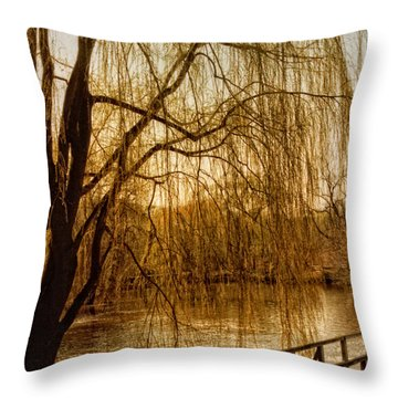 Weeping Willow And Bridge Throw Pillow