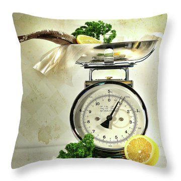 Weight Scale With Fish  Throw Pillow by Sandra Cunningham