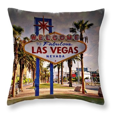 Welcome To Las Vegas Sign Series Impressions Throw Pillow by Ricky Barnard