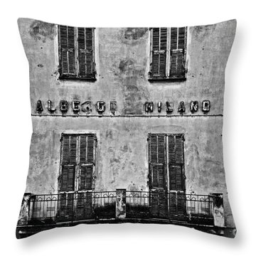 Throw Pillow featuring the photograph Welcome To The Hotel Milano by Andy Prendy
