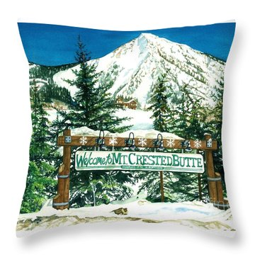 Welcome To The Mountain Throw Pillow by Barbara Jewell