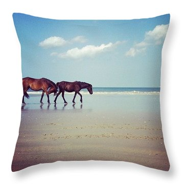 Well, This Just Happened. #wild #horses Throw Pillow