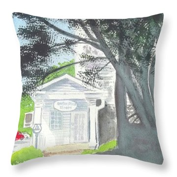 Throw Pillow featuring the painting Wellers Carriage House 1 by Yoshiko Mishina
