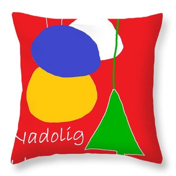 Throw Pillow featuring the digital art Welsh Christmas Card by Barbara Moignard