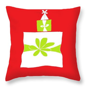 Throw Pillow featuring the digital art Welsh Merry Christmas Red by Barbara Moignard