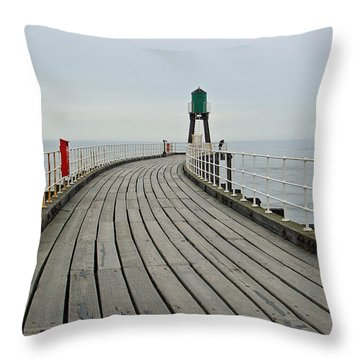 West Pier And Beacon Throw Pillow by Rod Johnson
