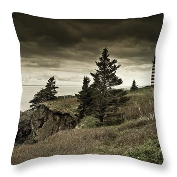 Throw Pillow featuring the photograph West Quoddy Head Lighthouse by Alana Ranney