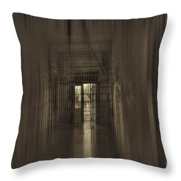 West Virginia Penitentiary Hallway Out Throw Pillow by Dan Friend
