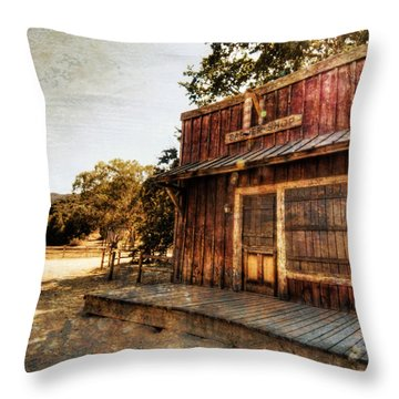 Western Barber Shop Throw Pillow