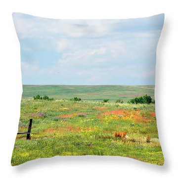Throw Pillow featuring the photograph Western Kansas Wooden Windmill  by Michael Flood