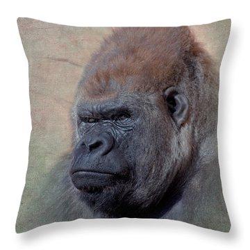 Western Lowland Gorilla Throw Pillow by Betty LaRue