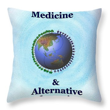 Western Medicine And Alternative Therapies Throw Pillow