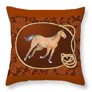 Western Roundup Running Horse Throw Pillow
