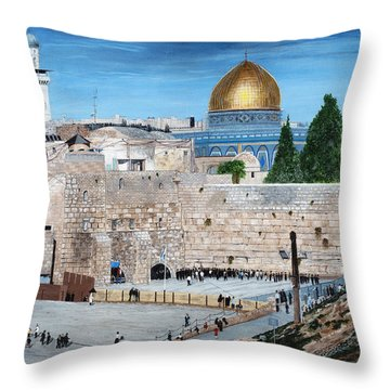 Western Wall Throw Pillow by Stuart B Yaeger