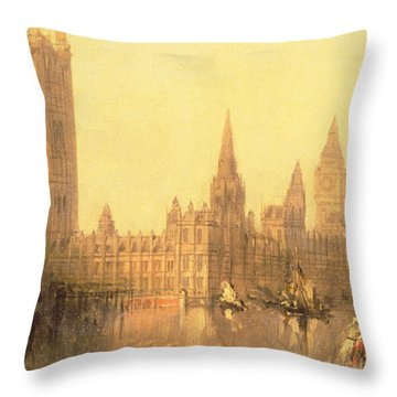 Westminster Houses Of Parliament Throw Pillow by David Roberts