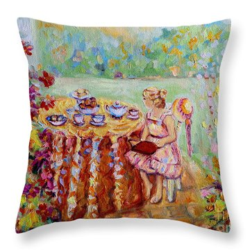 Westmount Garden Montreal City Scene Throw Pillow by Carole Spandau