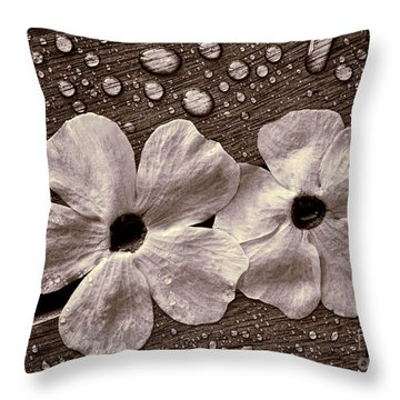 Wet Flowers And Wet Table Throw Pillow