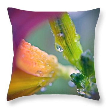 Throw Pillow featuring the photograph Wet Lily by Susan Leggett