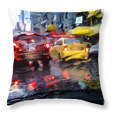 Wet Ride Home Throw Pillow