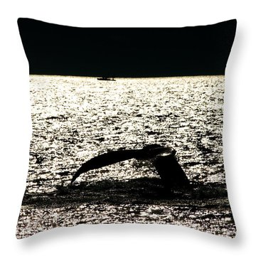 Whale In Sunset Throw Pillow by Paul Ge