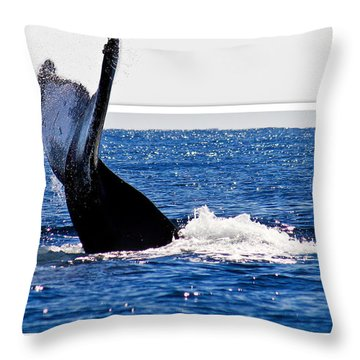 Whale Tail Throw Pillow by Jean Noren