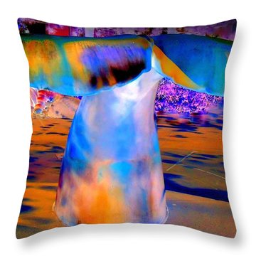 Whales Tail Throw Pillow by Randall Weidner