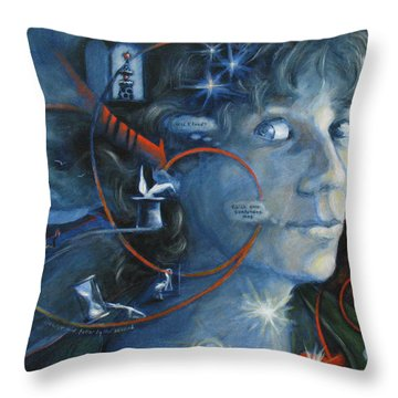 What I Was Thinking 5 Minutes Ago Throw Pillow by Meg Biddle