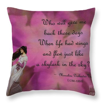 When Life Had Wings Throw Pillow by Patricia Griffin Brett