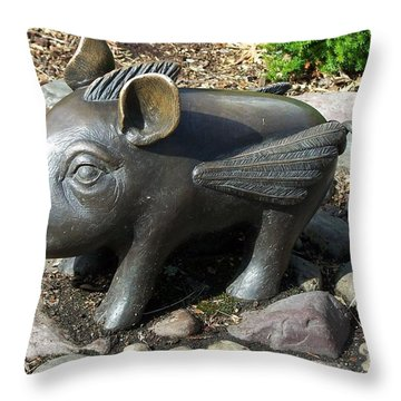Throw Pillow featuring the photograph When Pigs Fly by Chalet Roome-Rigdon