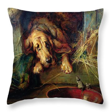When The Cat's Away The Mice Will Play  Throw Pillow by Philip Eustace Stretton