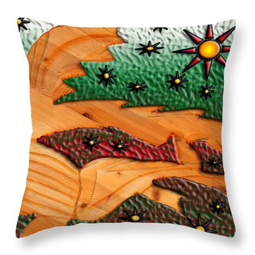 Where The Wild Fish Are Throw Pillow by Robert Margetts