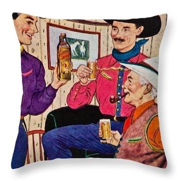Whiskey Advertisement Throw Pillow by Susan Leggett