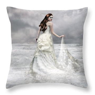 Whispered Waves Throw Pillow by Mary Hood