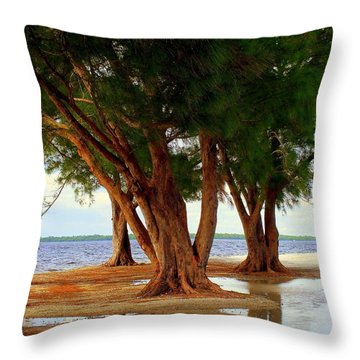 Whispering Trees Of Sanibel Throw Pillow by Karen Wiles