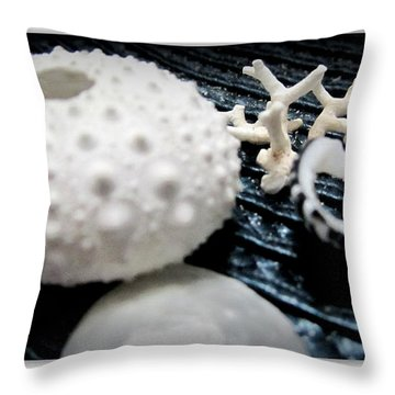 White And Blue  Throw Pillow by Danielle  Parent