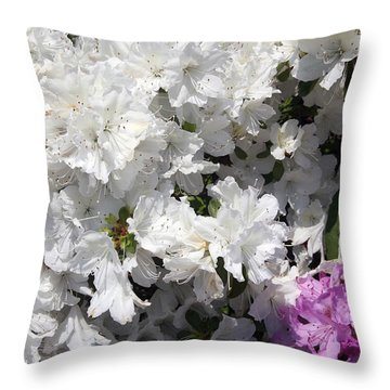 White Azalea Throw Pillow