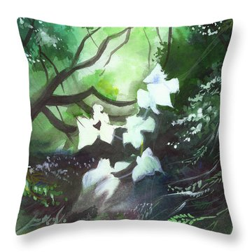 White Begonia Throw Pillow by Anil Nene