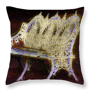 Throw Pillow featuring the photograph White Bench by Donna Bentley